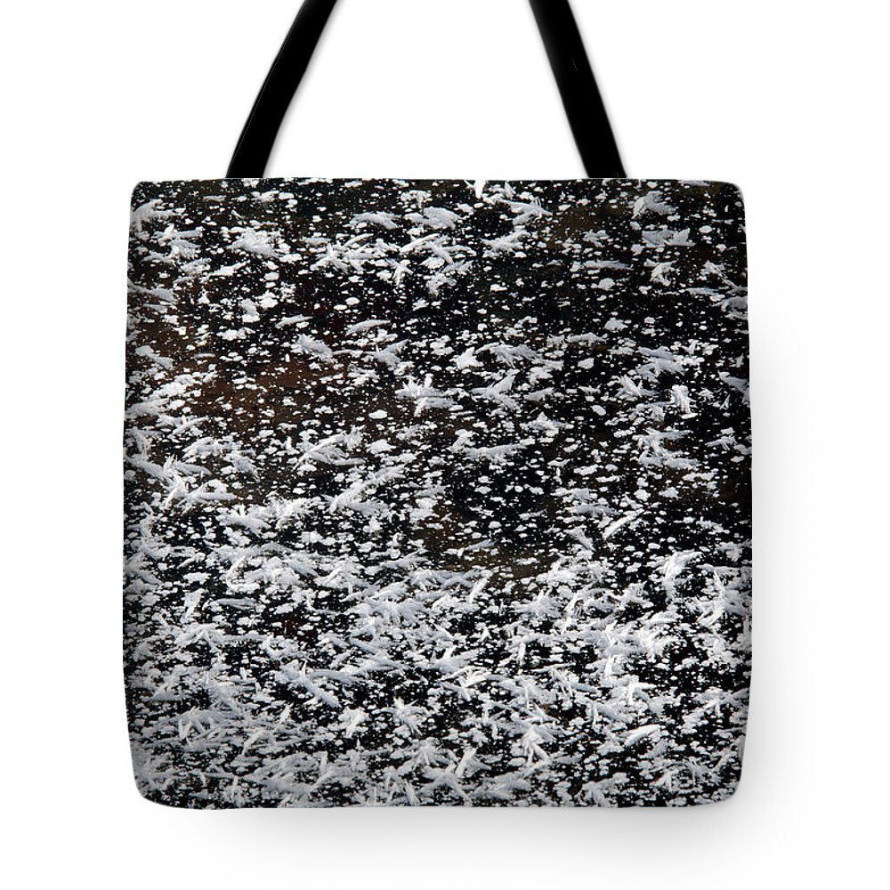 Frost Tote Bag featuring the photograph Frost Flakes On Ice - 29 by Larry Jost