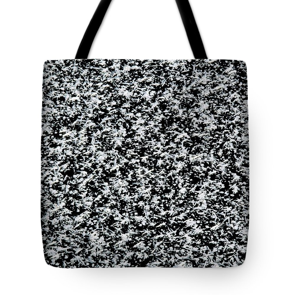 Frost Tote Bag featuring the photograph Frost Flakes On Ice - 35 by Larry Jost