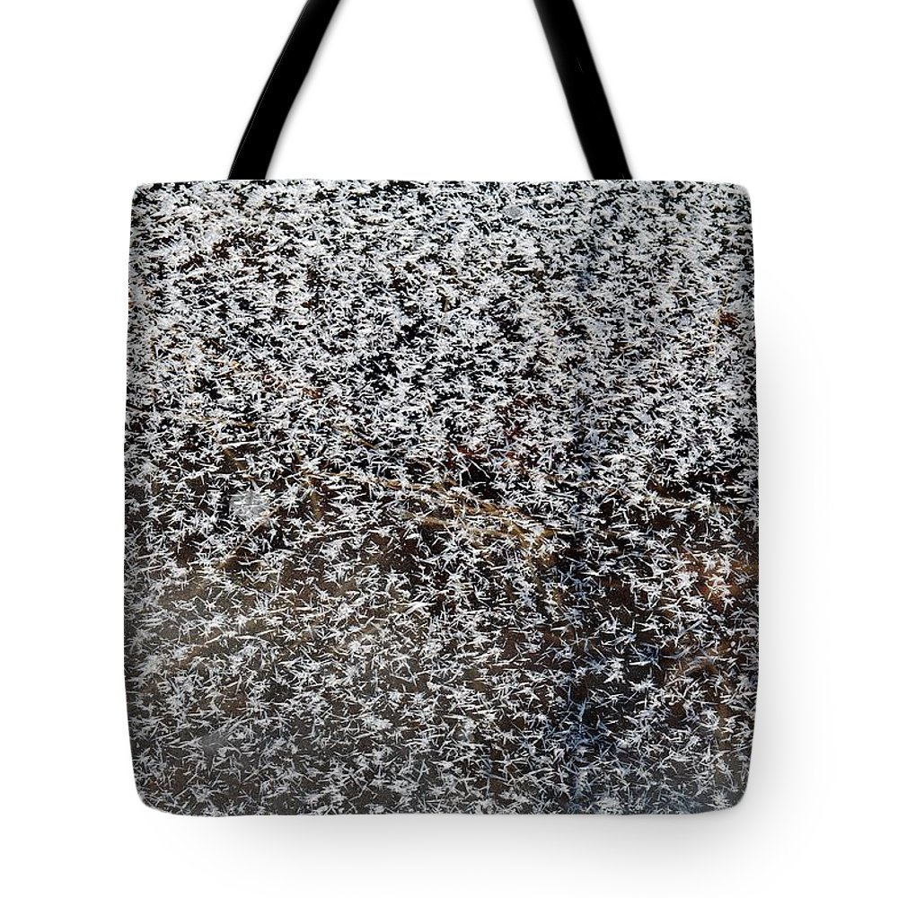 Frost Tote Bag featuring the photograph Frost Flakes On Ice - 14 by Larry Jost