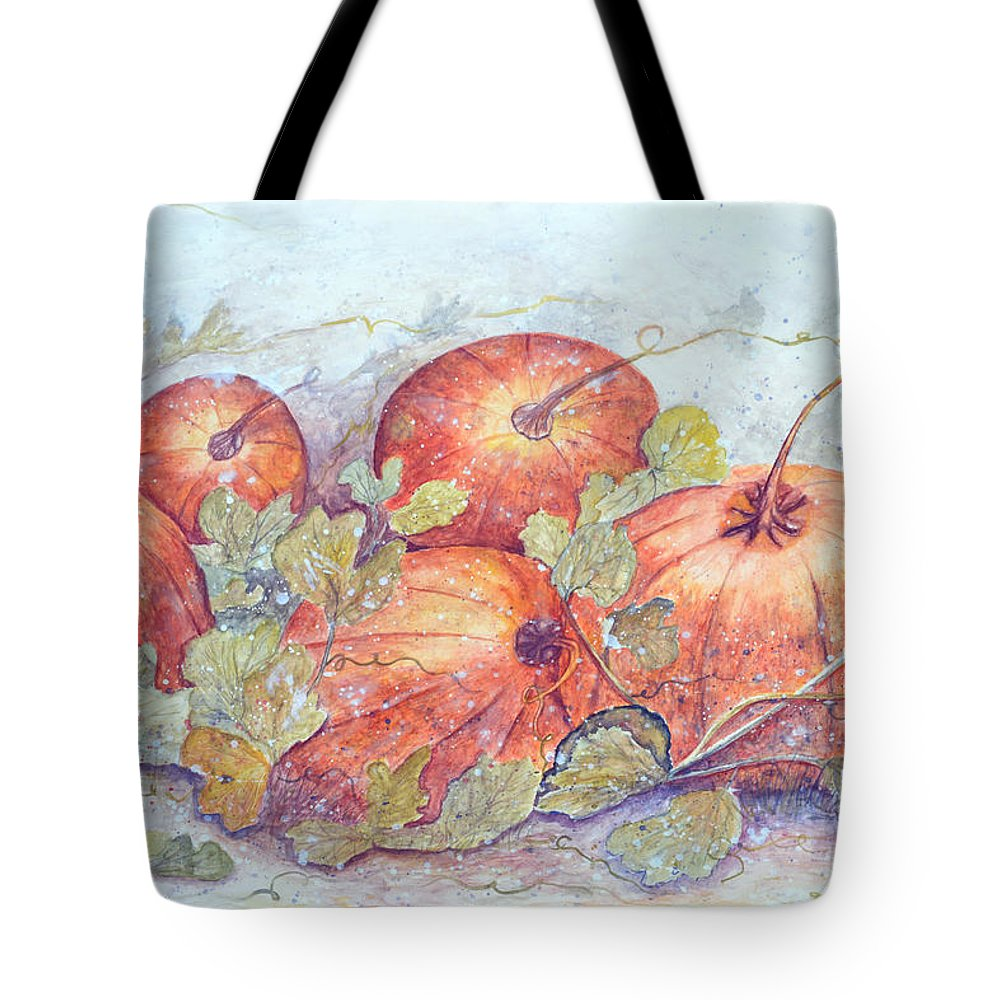 Pumpkin Patch Tote Bag featuring the painting Frost on the Pumpkin by Ben Kiger