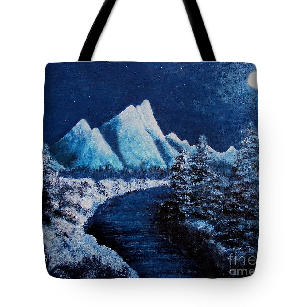 Barbara Griffin Tote Bag featuring the painting Frosty Night In The Mountains by Barbara Griffin