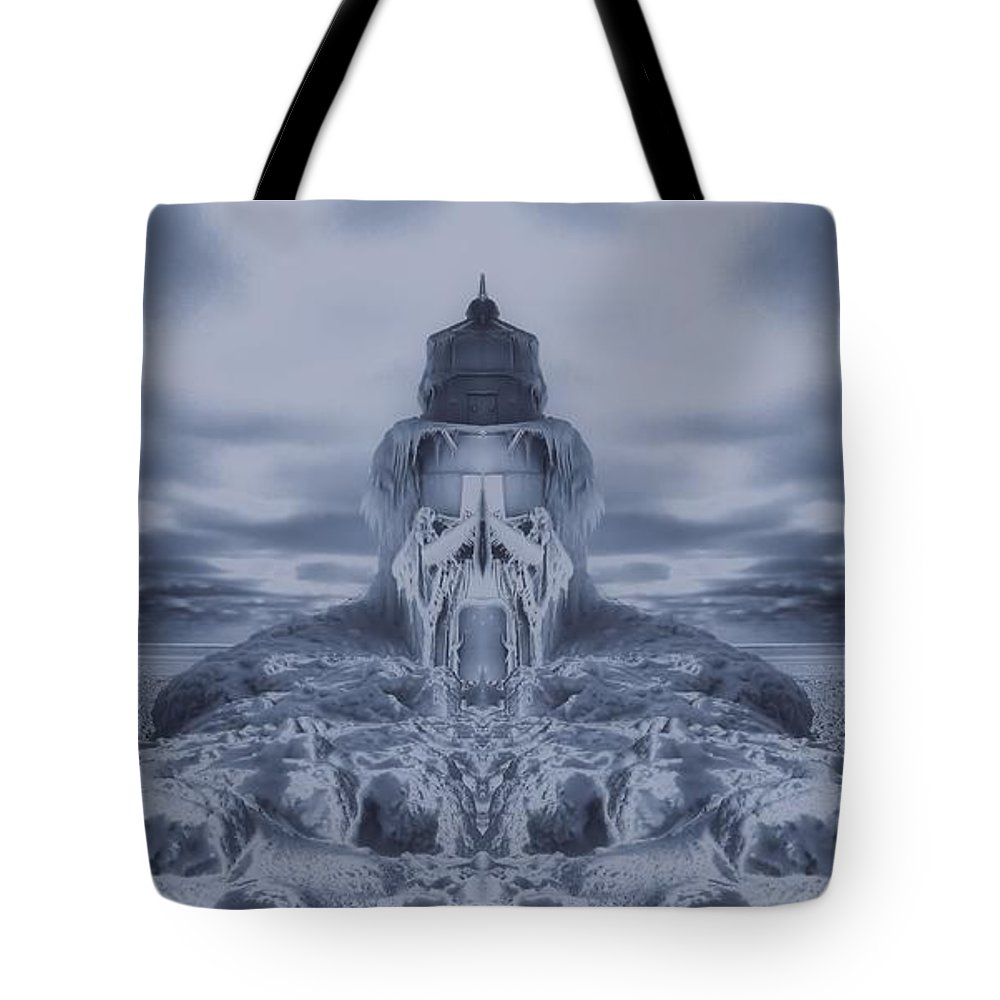 Frozen Dream On The Coast Tote Bag featuring the digital art Frozen Dream On The Coast by Dan Sproul