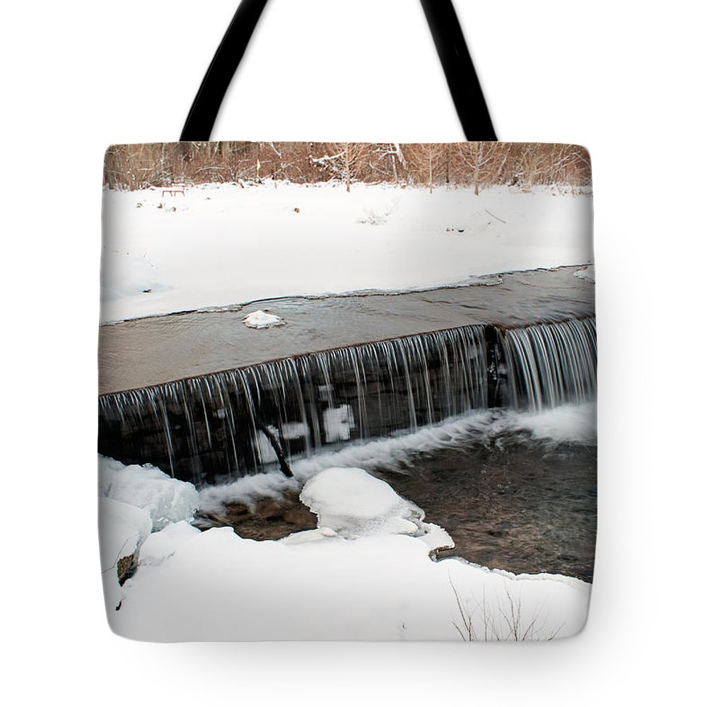 Water Tote Bag featuring the photograph Frozen Falls At Pine Creek by Michael Porchik