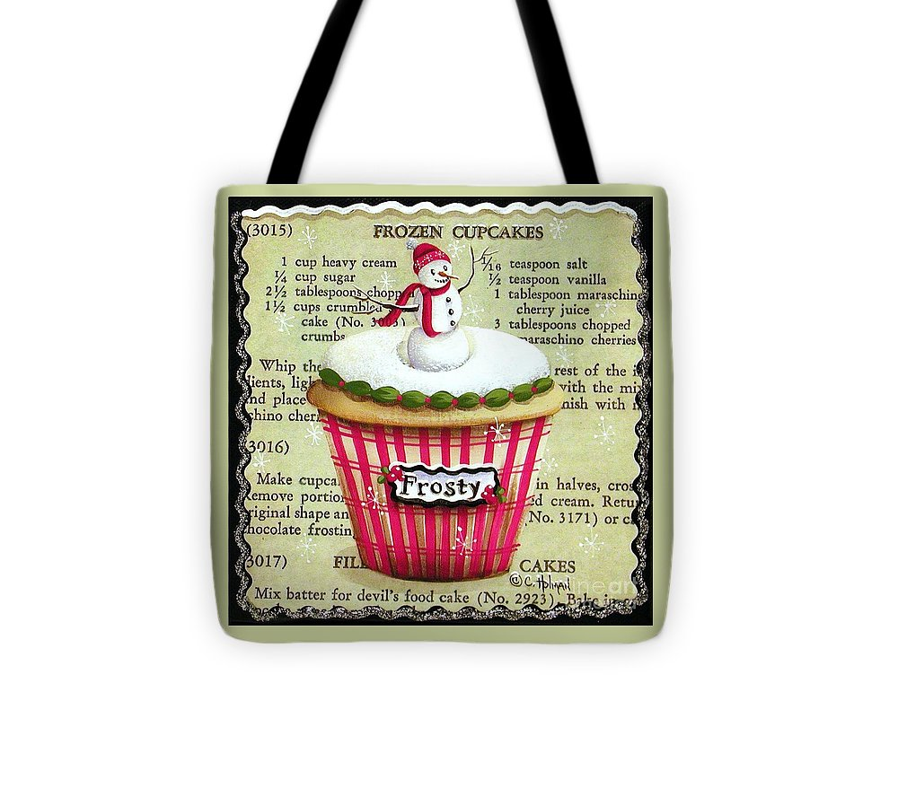 Art Tote Bag featuring the painting Frozen Frosty Cupcake by Catherine Holman