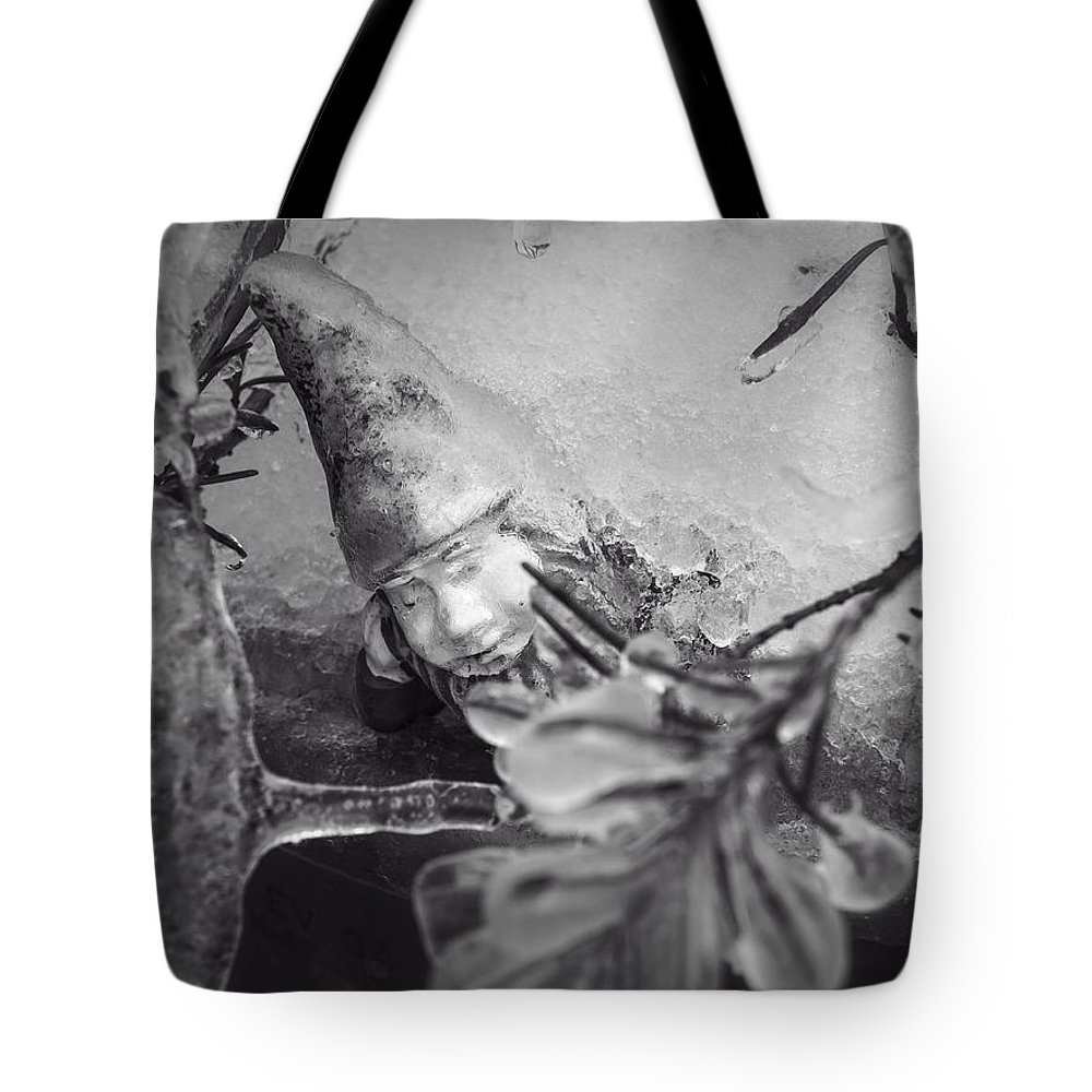 Gnome Tote Bag featuring the photograph Frozen Gnome Black And White by MM Anderson