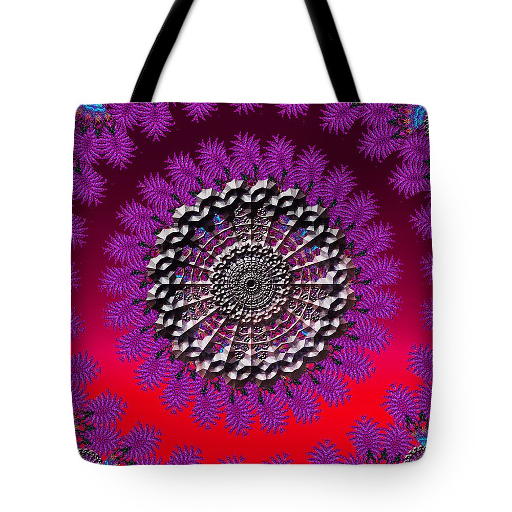 Red Tote Bag featuring the digital art Frozen In Time by Robert Orinski
