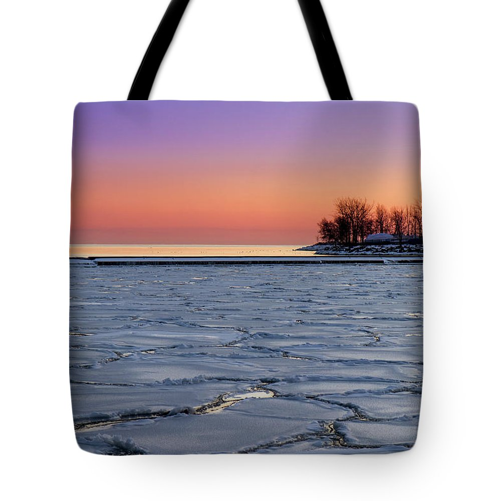 Scenics Tote Bag featuring the photograph Frozen Lake Ontario Sunset by Frank Lee