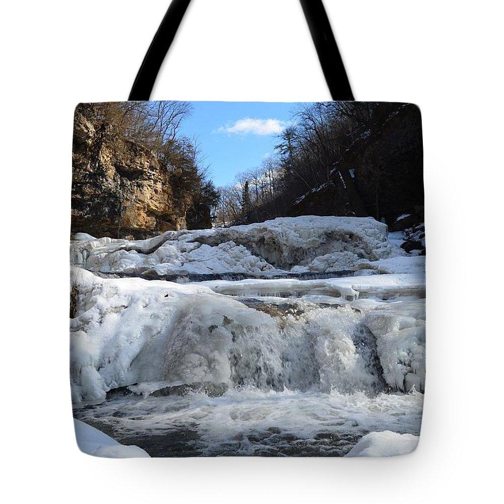 Waterfall Tote Bag featuring the photograph Frozen by Lisa Thomas