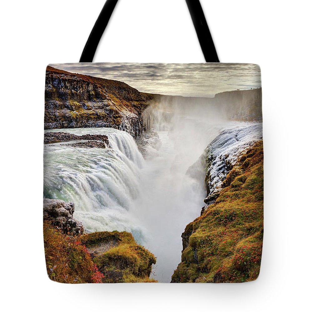 Scenics Tote Bag featuring the photograph Frozen Mist On Autumn Day At Gullfoss by Anna Gorin
