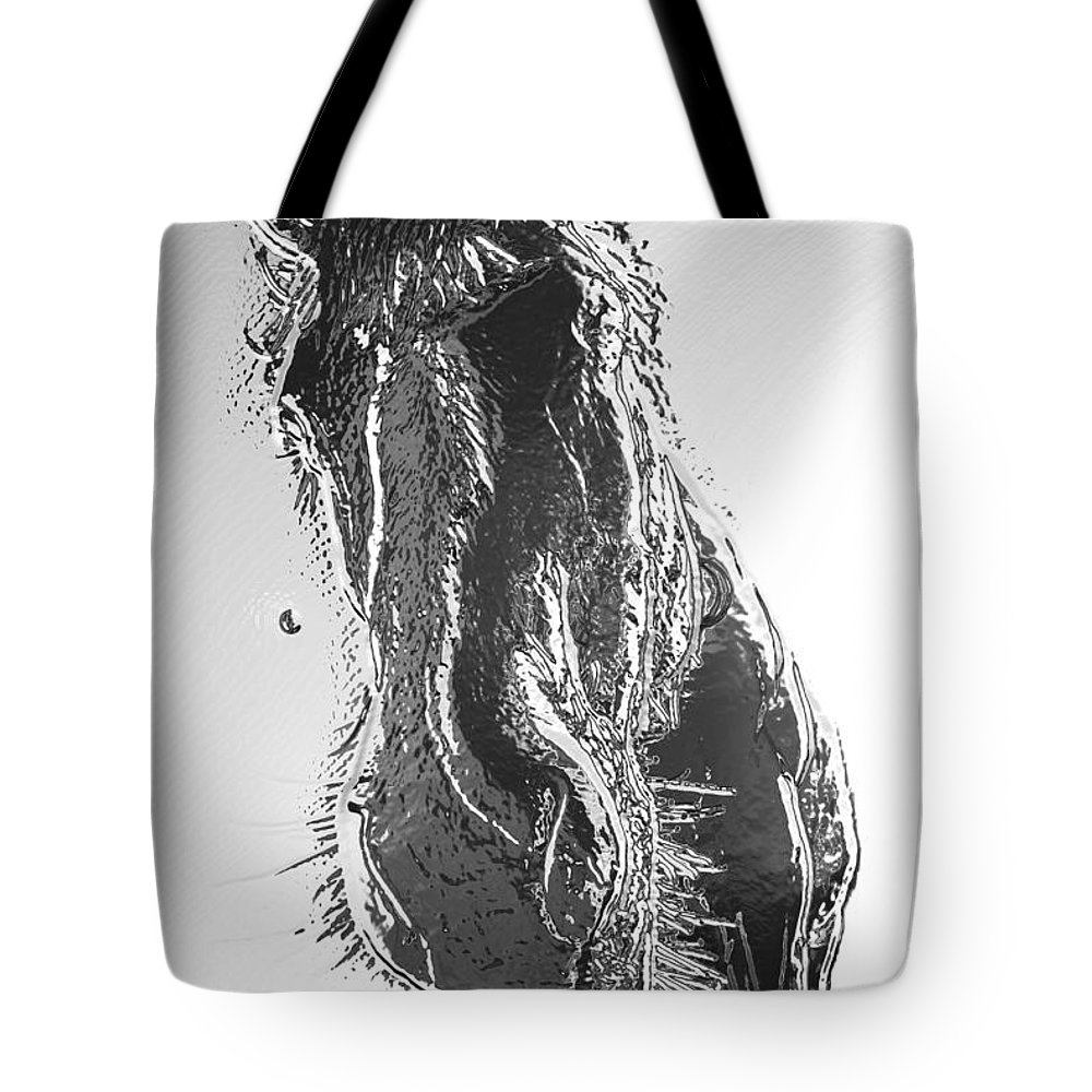 Pony Tote Bag featuring the photograph Frozen Pony by Kathy Sampson