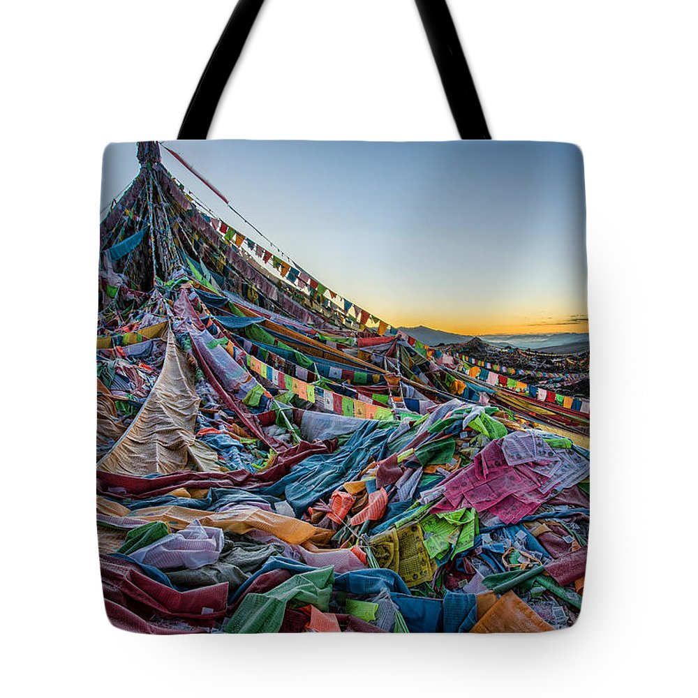 Amne Tote Bag featuring the photograph Frozen Prayer Flags by James Wheeler