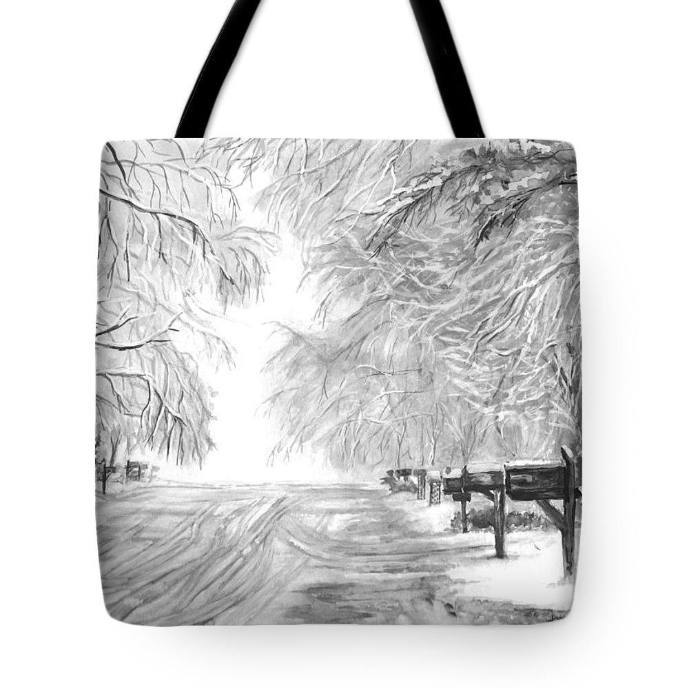 A Familiar Sight Tote Bag featuring the painting Frozen Rain by Carol Wisniewski
