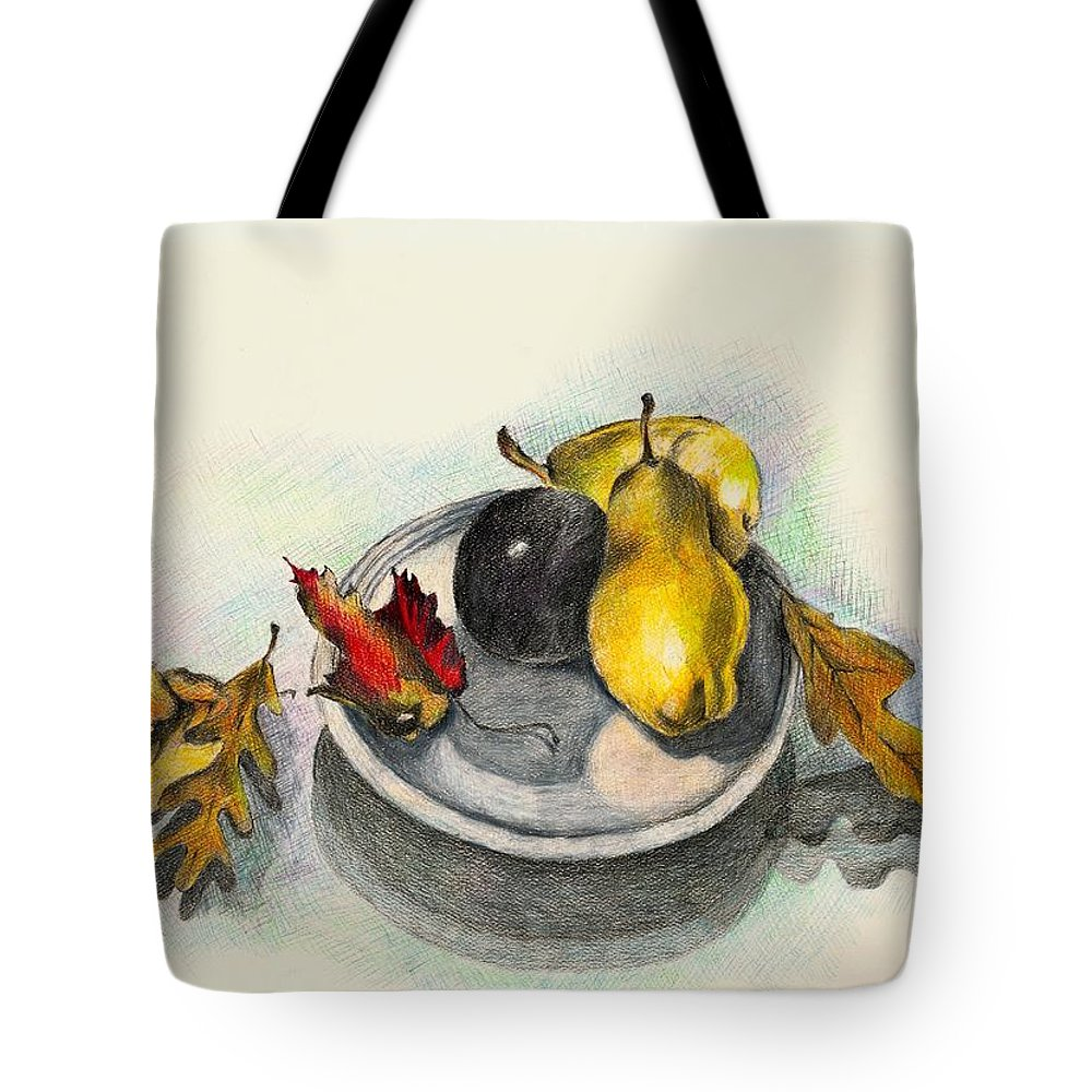 Fruit Tote Bag featuring the drawing Fruit And Autumn Leaves by Judy Swerlick
