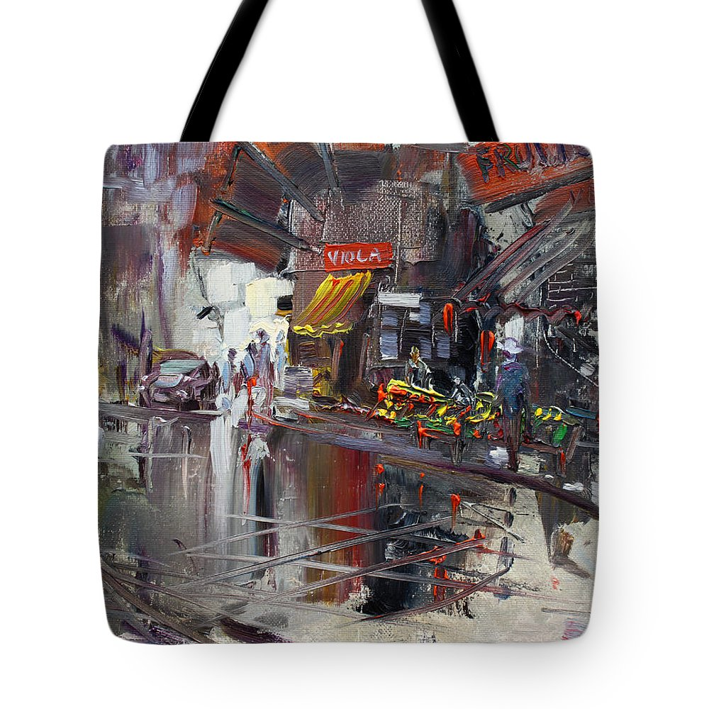 Fruit Market Tote Bag featuring the painting Fruit Market by Ylli Haruni