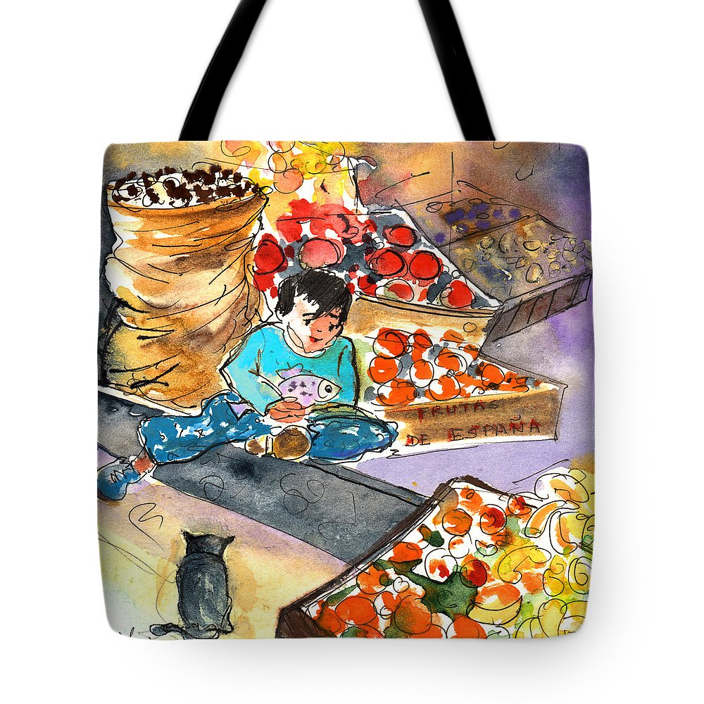 Travel Tote Bag featuring the painting Fruit Shop In The Mountains Of Gran Canaria by Miki De Goodaboom