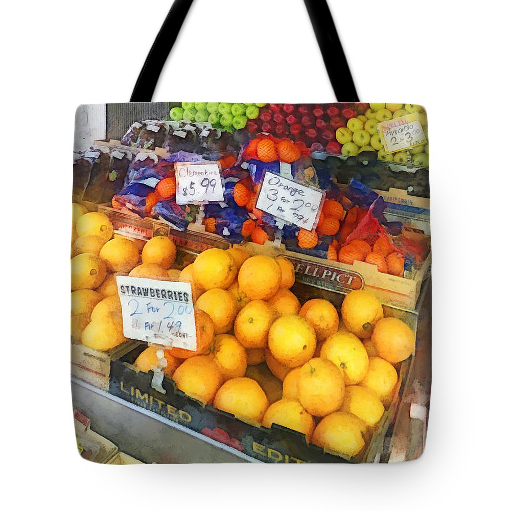 Fruit Tote Bag featuring the photograph Fruit Stand Hoboken Nj by Susan Savad