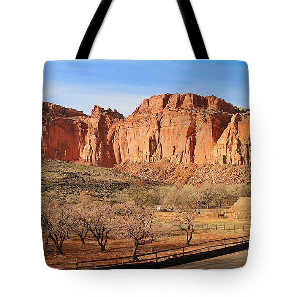 Fruita Utah Tote Bag featuring the photograph Fruita Utah Panorama 002 by Jack Schultz