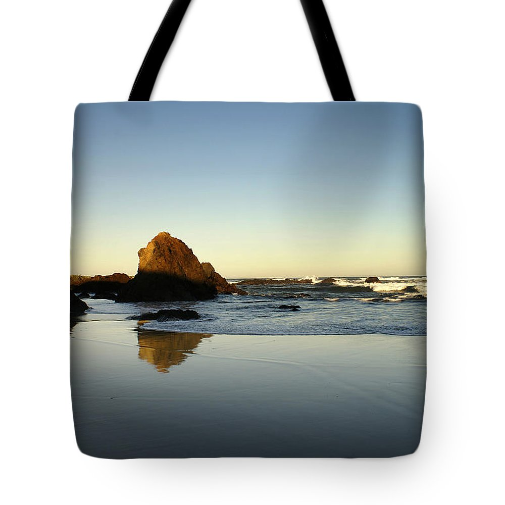Beach Tote Bag featuring the photograph Ft. Bragg Moonset by Abram House