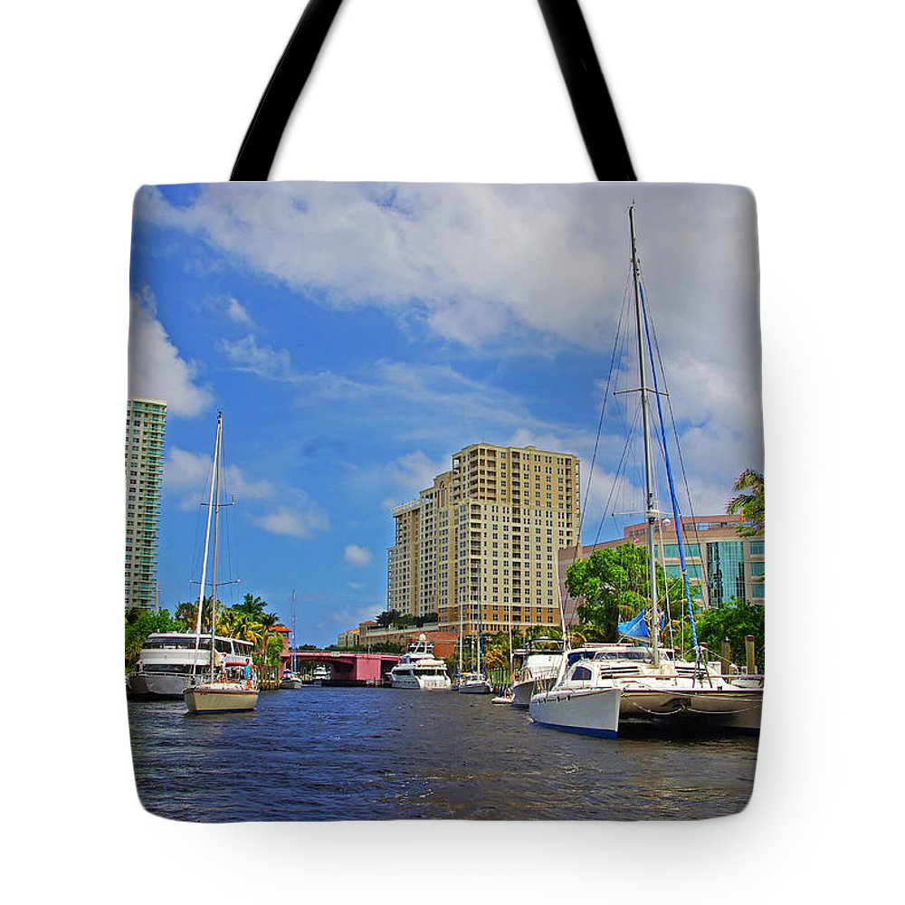 Florida Tote Bag featuring the photograph Ft. Lauderdale Canal by Rich Walter
