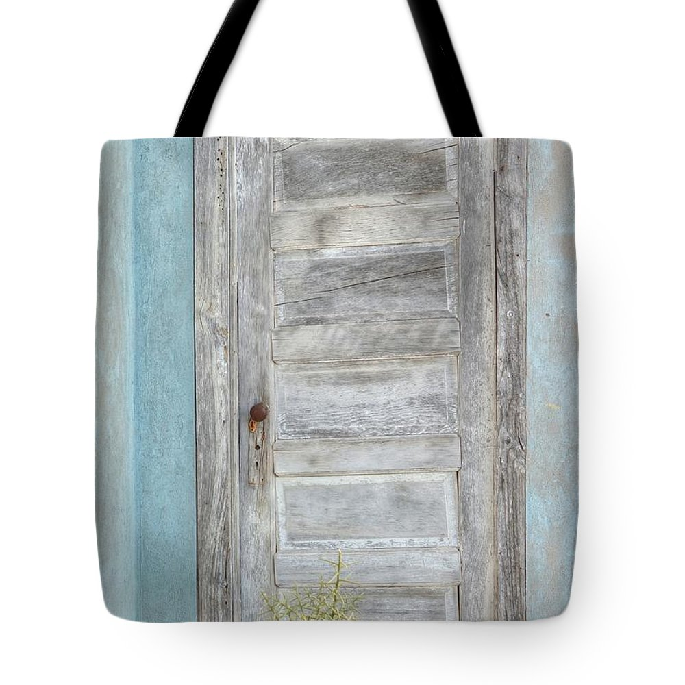 Door Tote Bag featuring the photograph Ft. Stockton House Door by Lanita Williams