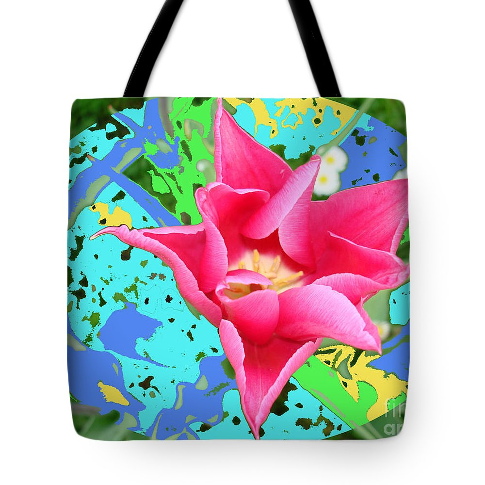 Colored-background Tote Bag featuring the photograph Fuchsia Tulip By M.l.d. Moerings 2012 by Marion Moerings