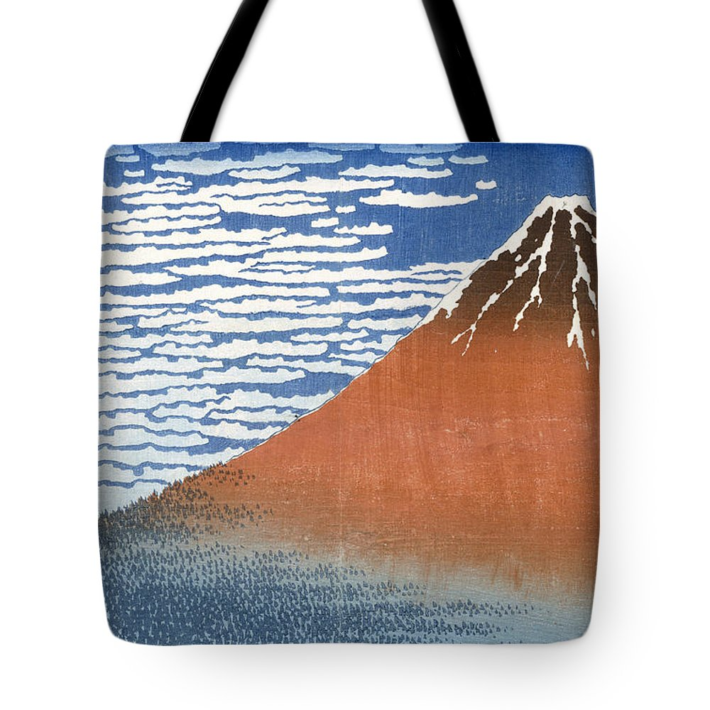 Japan Tote Bag featuring the painting Fuji Mountains In Clear Weather by Hokusai