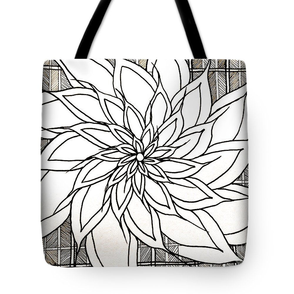 Abstract Tote Bag featuring the drawing Full Bloom Iv by Anita Lewis