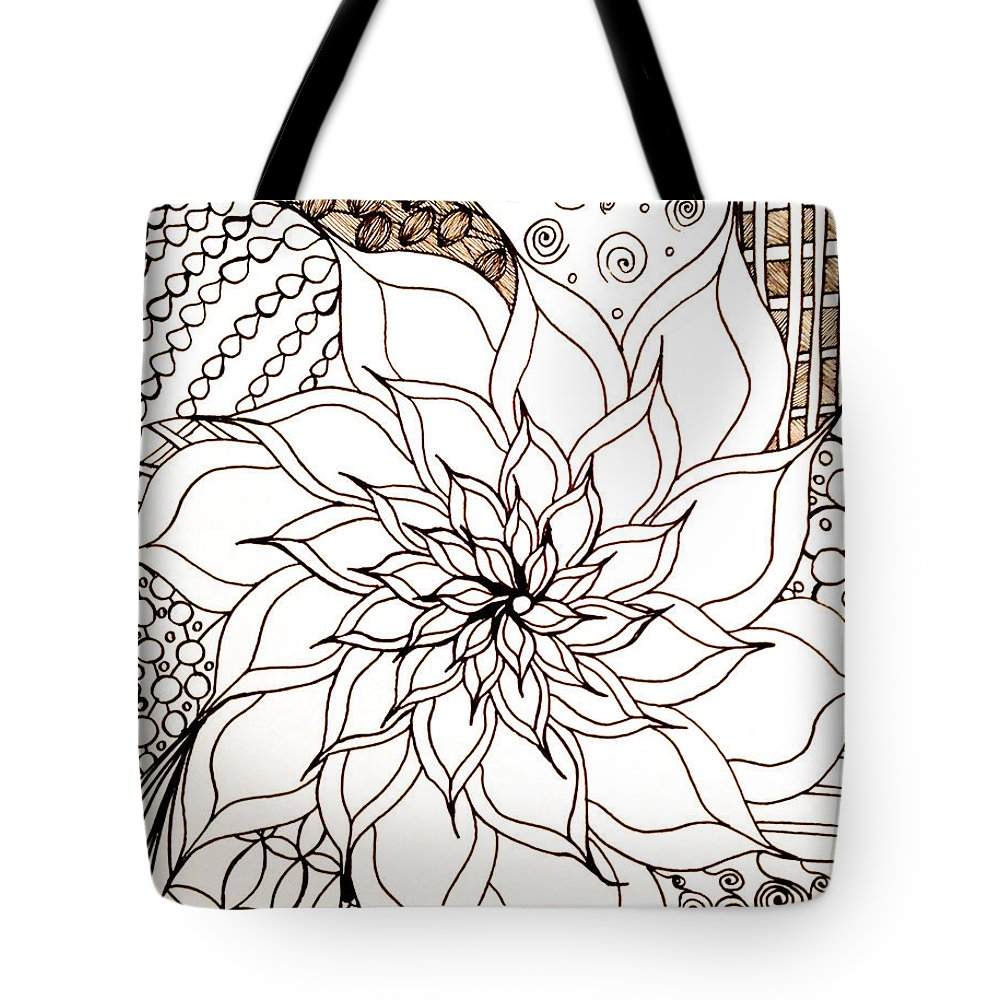 Full Bloom V Tote Bag featuring the drawing Full Bloom V by Anita Lewis
