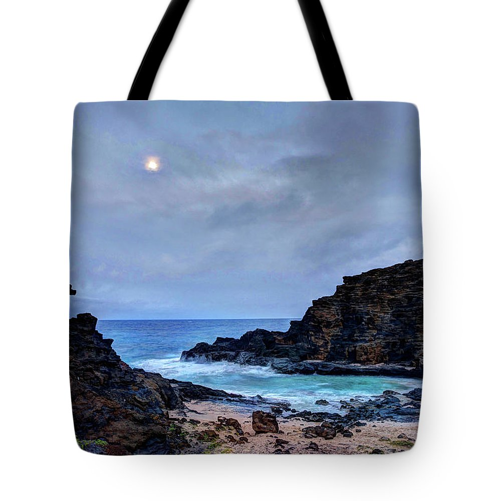 Tranquility Tote Bag featuring the photograph Full Moon In The Clouds by Julie Thurston