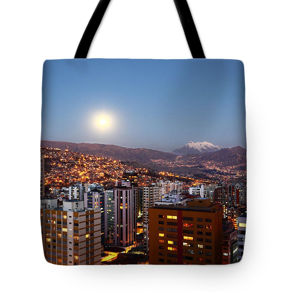 La Paz Tote Bag featuring the photograph Full Moon Rising Over La Paz by James Brunker