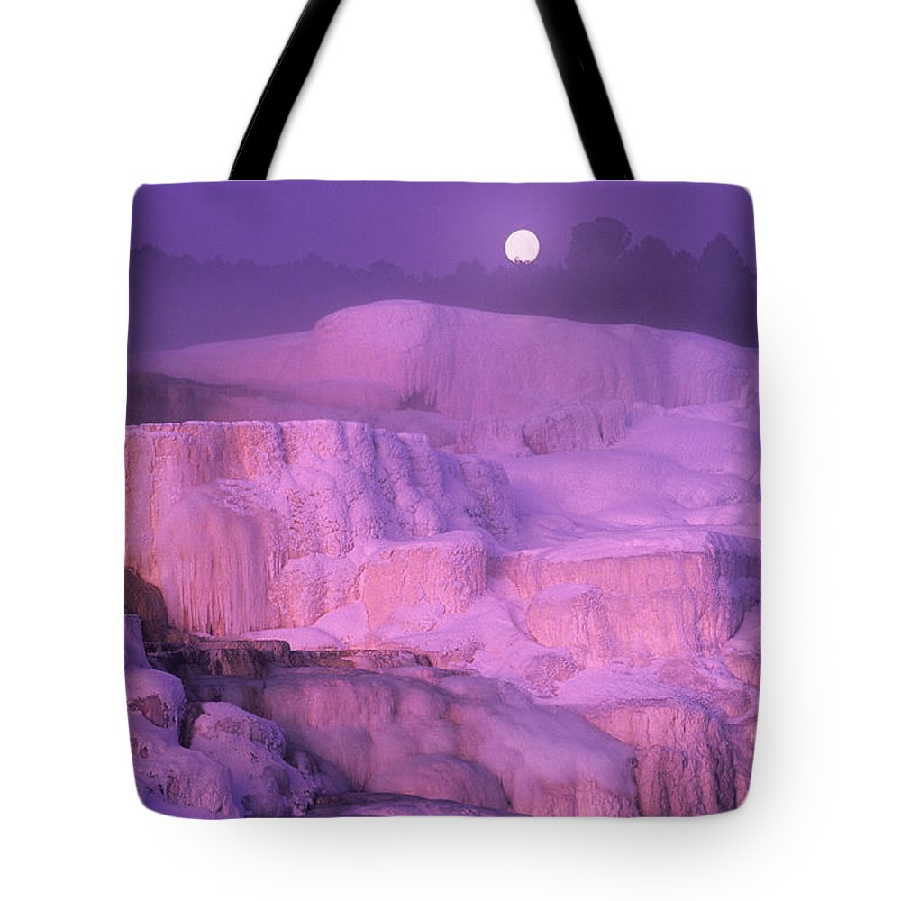 North America Tote Bag featuring the photograph Full Moon Sets Over Minerva Springs On A Winter Morning Yellowstone National Park by Dave Welling