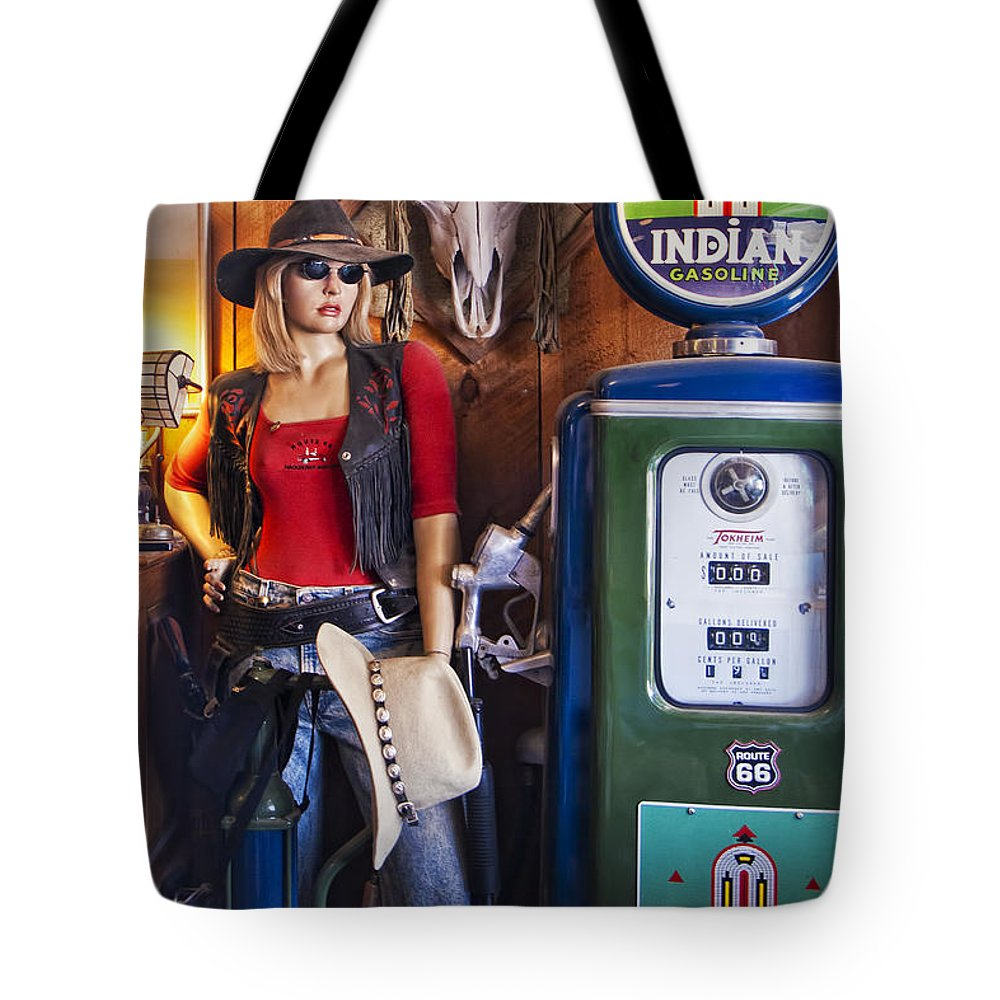 Hackberry General Store Tote Bag featuring the photograph Full Service Route 66 Gas Station by Priscilla Burgers