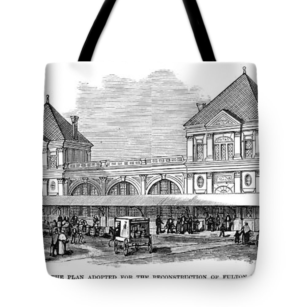 1881 Tote Bag featuring the photograph Fulton Fish Market, 1881 by Granger