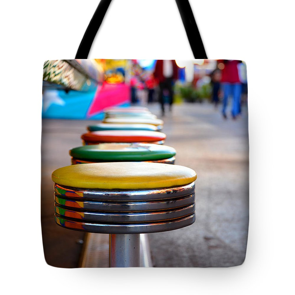 Colorful Seats Tote Bag featuring the photograph Fun Seats by David Lee Thompson