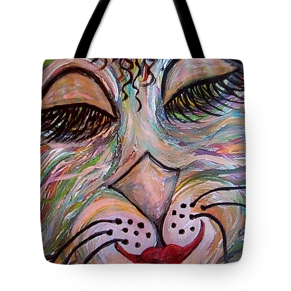 Cat Tote Bag featuring the painting Funky Feline by Eloise Schneider Mote