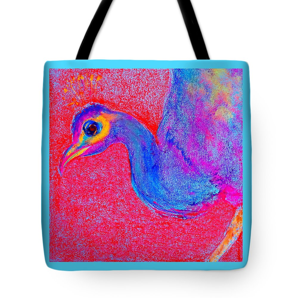 Art Tote Bag featuring the painting Funky Peacock Bird Art Prints by Sue Jacobi
