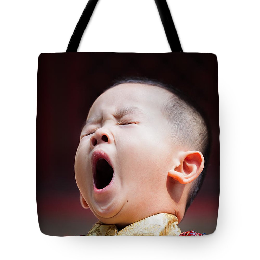 Beijing Tote Bag featuring the photograph Funny Chinese Child Yawning by Matteo Colombo