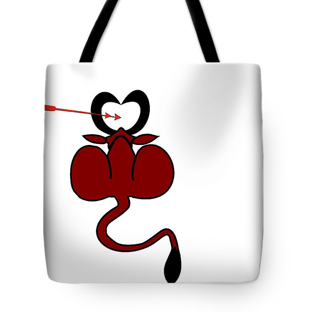 Funny Tote Bag featuring the digital art Funny Illustration Of Backside Of Bull With Heart Shaped Horns by Image World