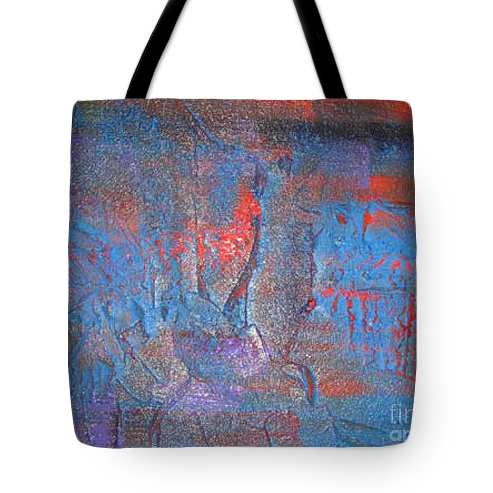 Abstract Tote Bag featuring the painting Funny Rain by Silvana Abel