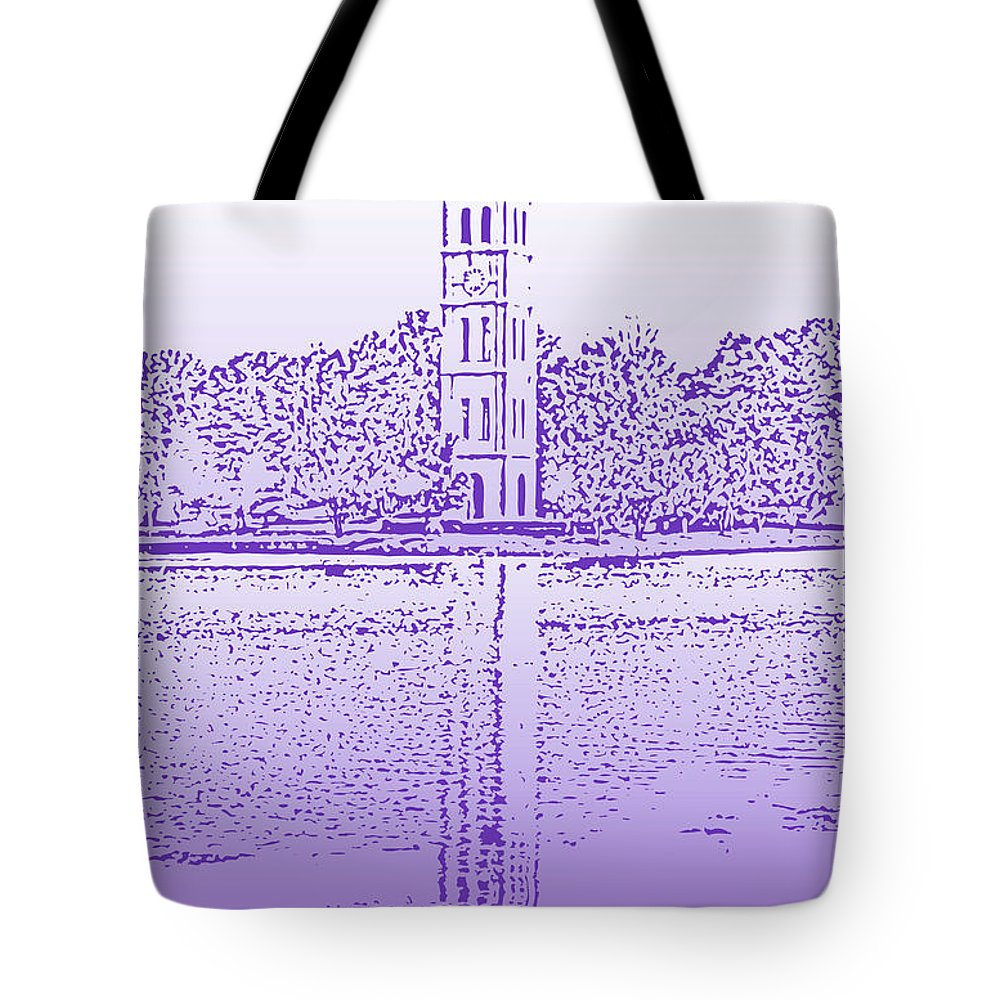 Furman University Tote Bag featuring the digital art Furman Bell Tower by Greg Joens