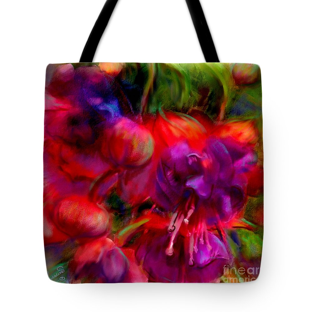 Fuschia Tote Bag featuring the painting Fuschia Excitement by Francine Dufour Jones