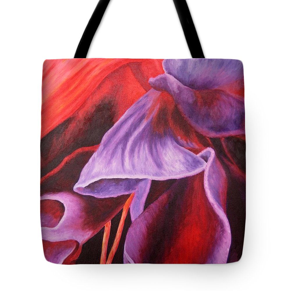 Floral Tote Bag featuring the painting Fuschia Folds by Darla Brock