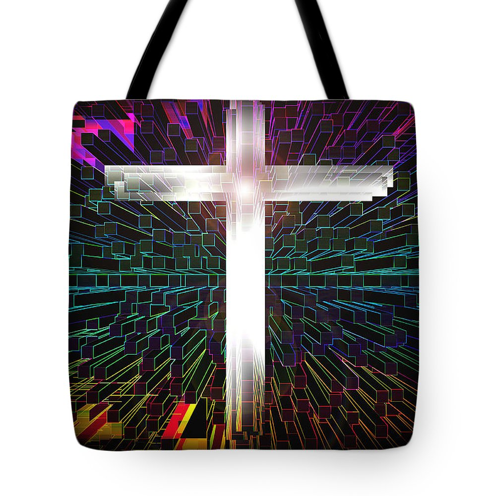 Cross Tote Bag featuring the digital art Futuristic Cross Pattern by XERXEESE Color Schemes