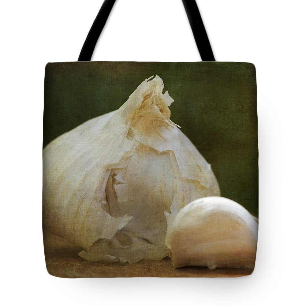 Still Life Tote Bag featuring the photograph G Is For Garlic by Juli Scalzi