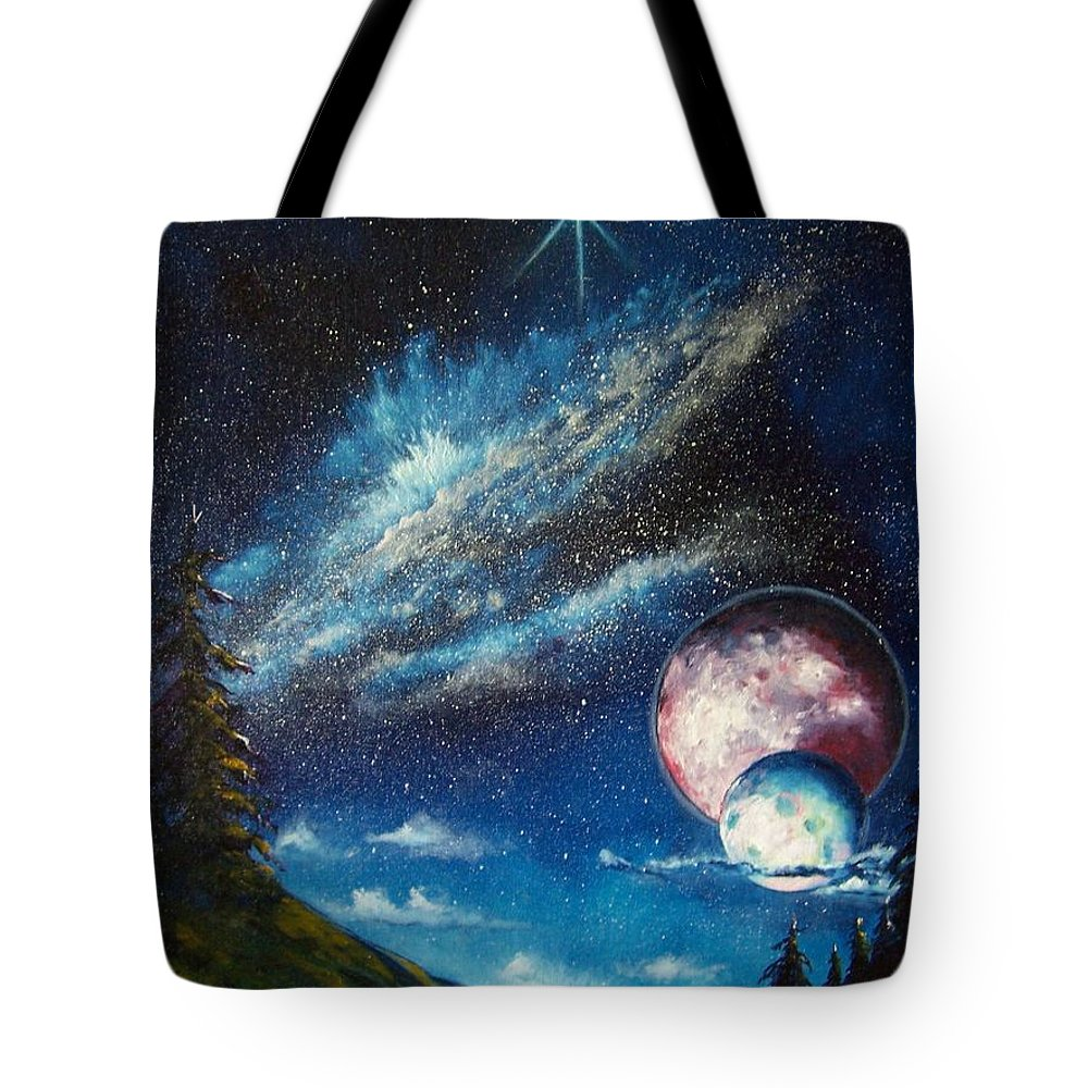 Space Horizon Tote Bag featuring the painting Galatic Horizon by Murphy Elliott