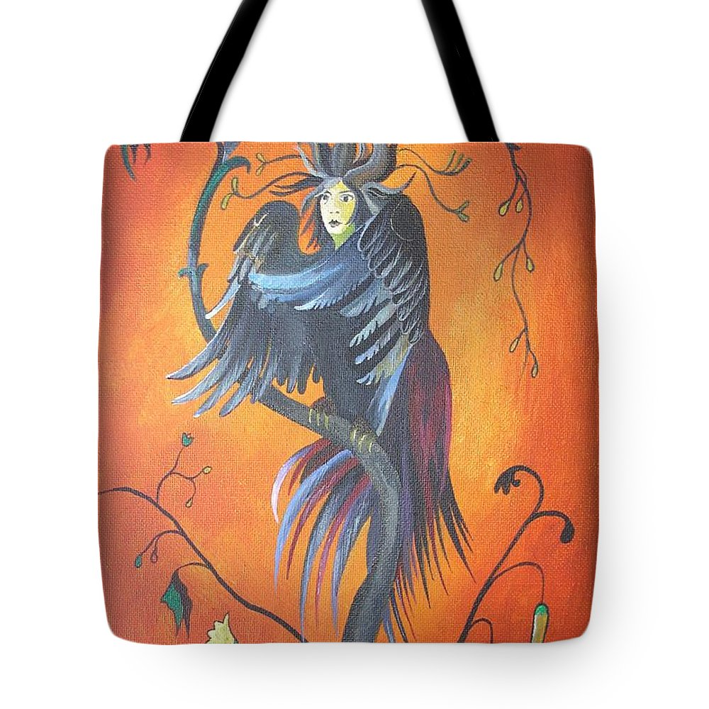 Bird Tote Bag featuring the painting Gamaun The Prophetic Bird by Taiche Acrylic Art
