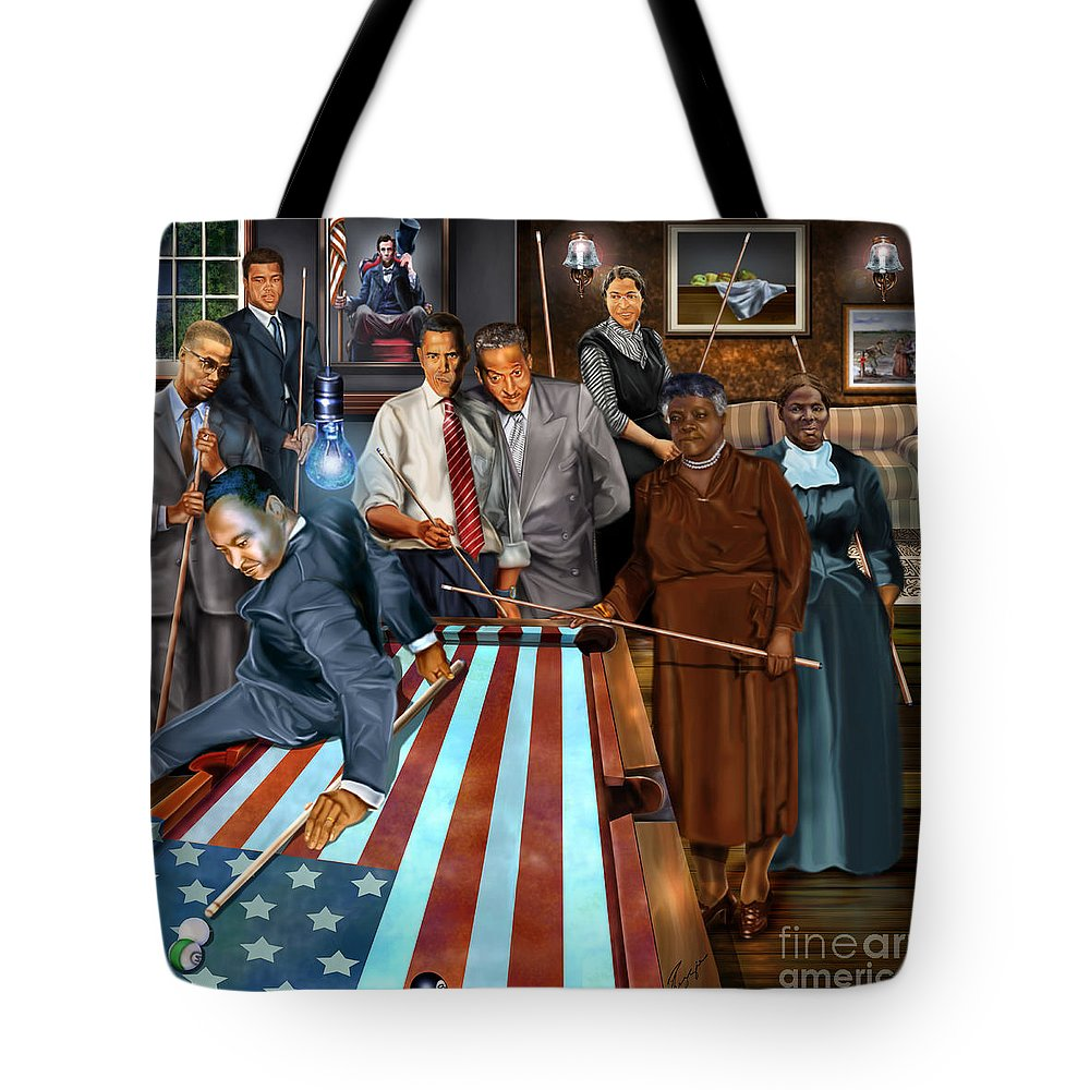 Harriet Tubman Tote Bag featuring the painting Game Changers And Table Runners P2 by Reggie Duffie