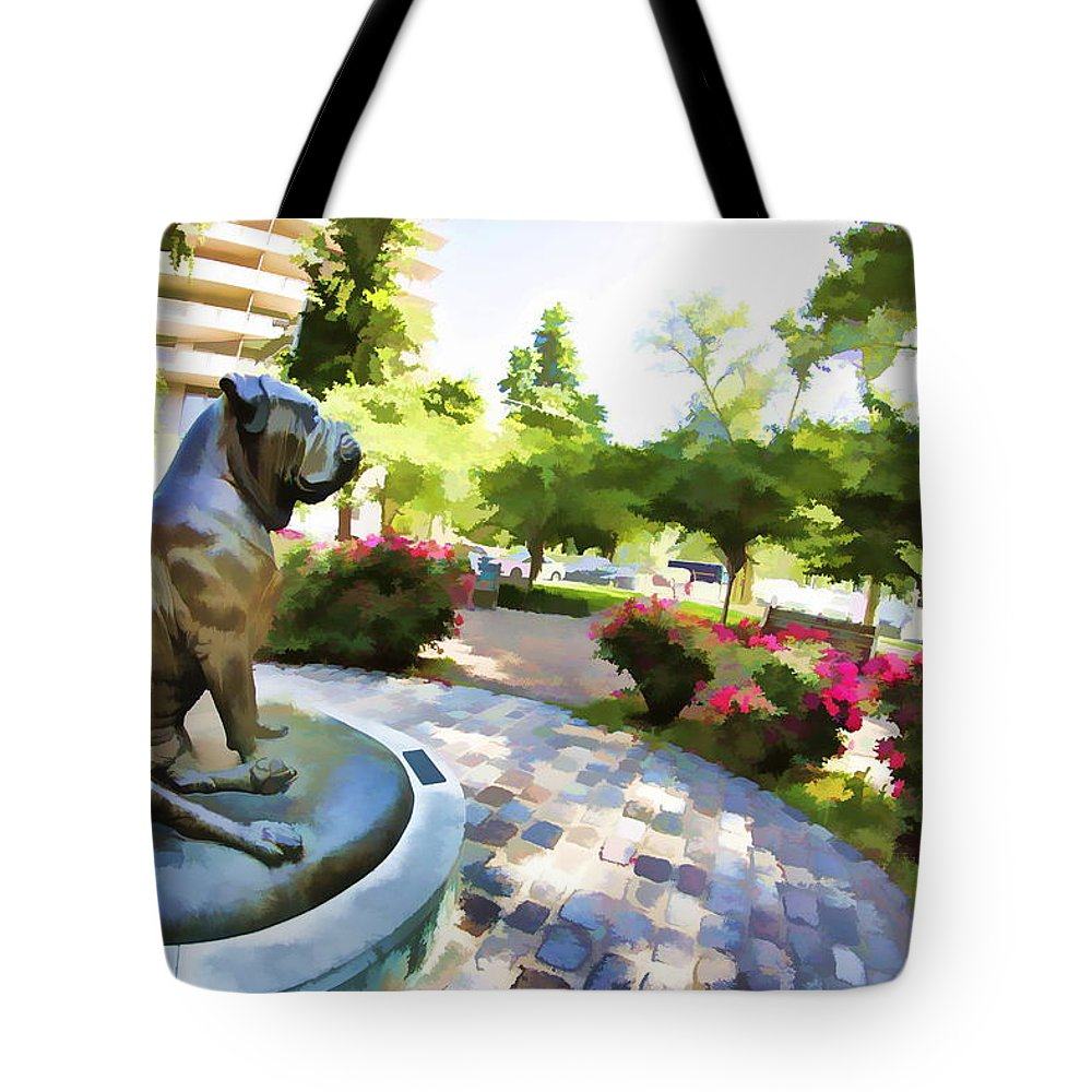 The Philadelphian Philadelphia Dog Park Statue Gamekeepers Roses Tote Bag featuring the photograph Gamekeepers Dog Park by Alice Gipson