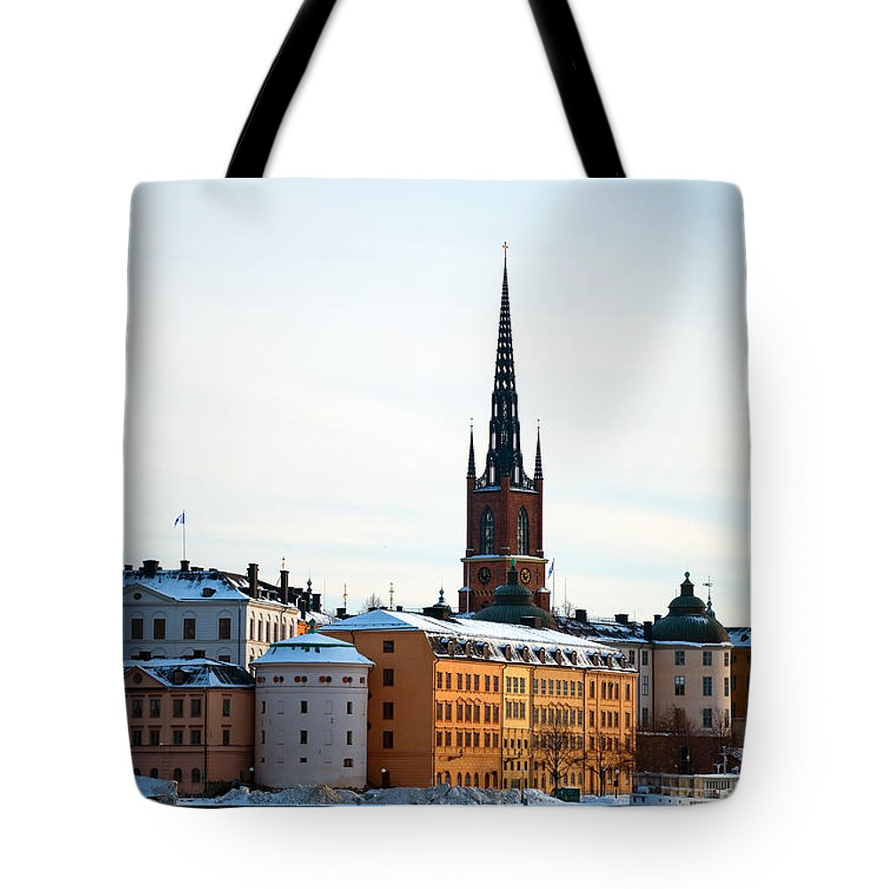 Winter Tote Bag featuring the photograph Gamla Stan Winter by Antony McAulay