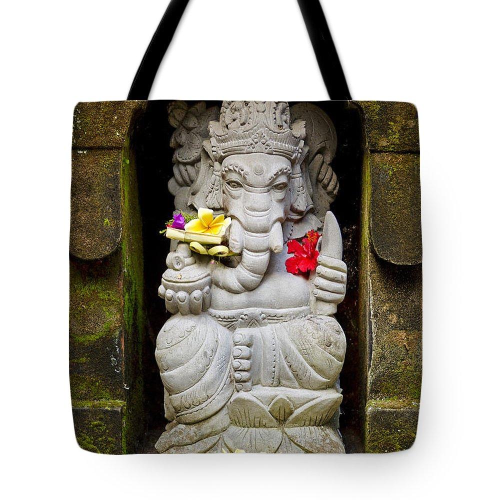 Art Tote Bag featuring the photograph Ganesh Hindu God Statue In Bali Indonesia by Jacek Malipan